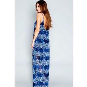 SMY Mumu trapeze maxi genie in a bottle blue dress